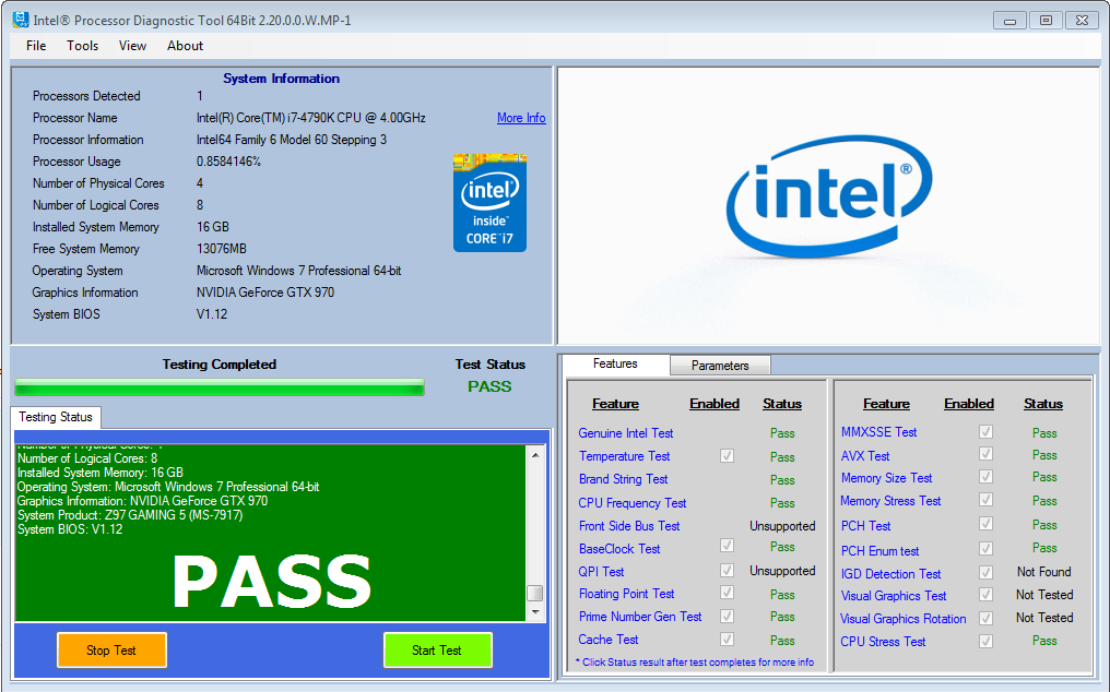 intel processor diagnostic tool 64bit